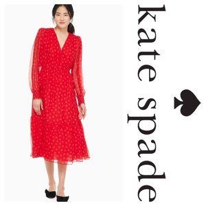 New Kate Spade Heartbeat Silk Midi Dress Red